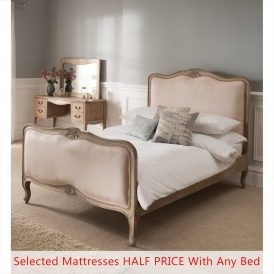 Montpellier Blanc Antique French Bed (Size: Double) + Mattress - Bundle Deal