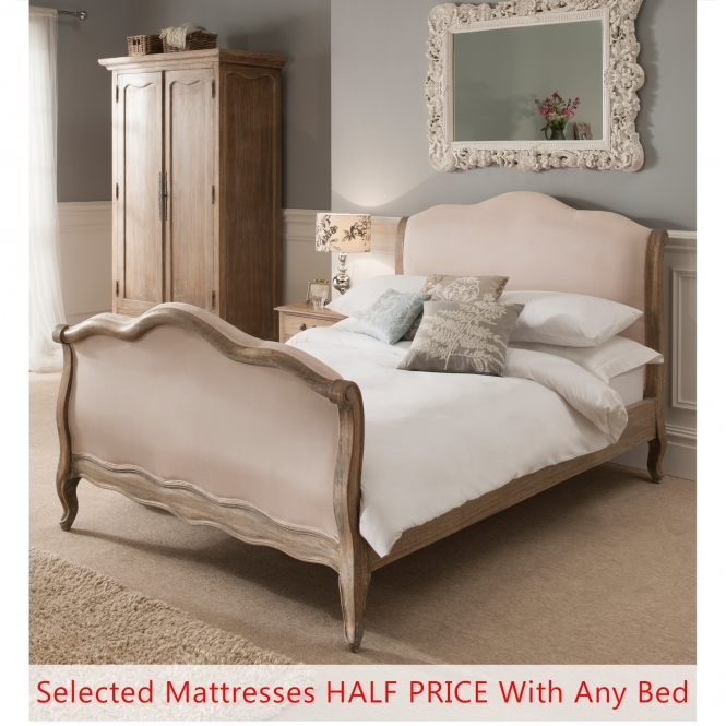 Montpellier Blanc Sleigh Antique French Bed (Size King)  Mattress  Bundle Deal