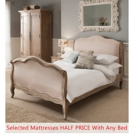 Montpellier Blanc Sleigh Antique French Bed (Size: King) + Mattress - Bundle Deal