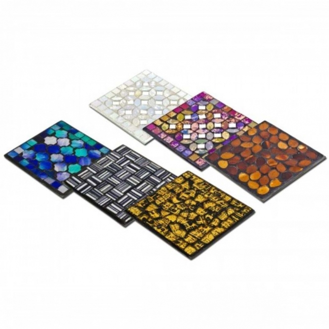 Mosaic Glass Coasters Set Of 6 French Style Accessories