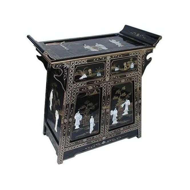 Mother of Pearl Altar Cabinet with Glass Top