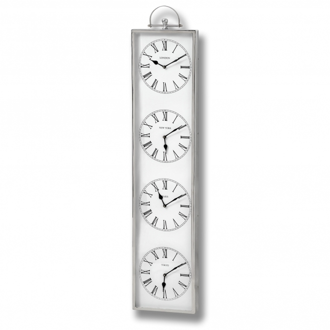 Multi Chrome Time Zone Wall Clock