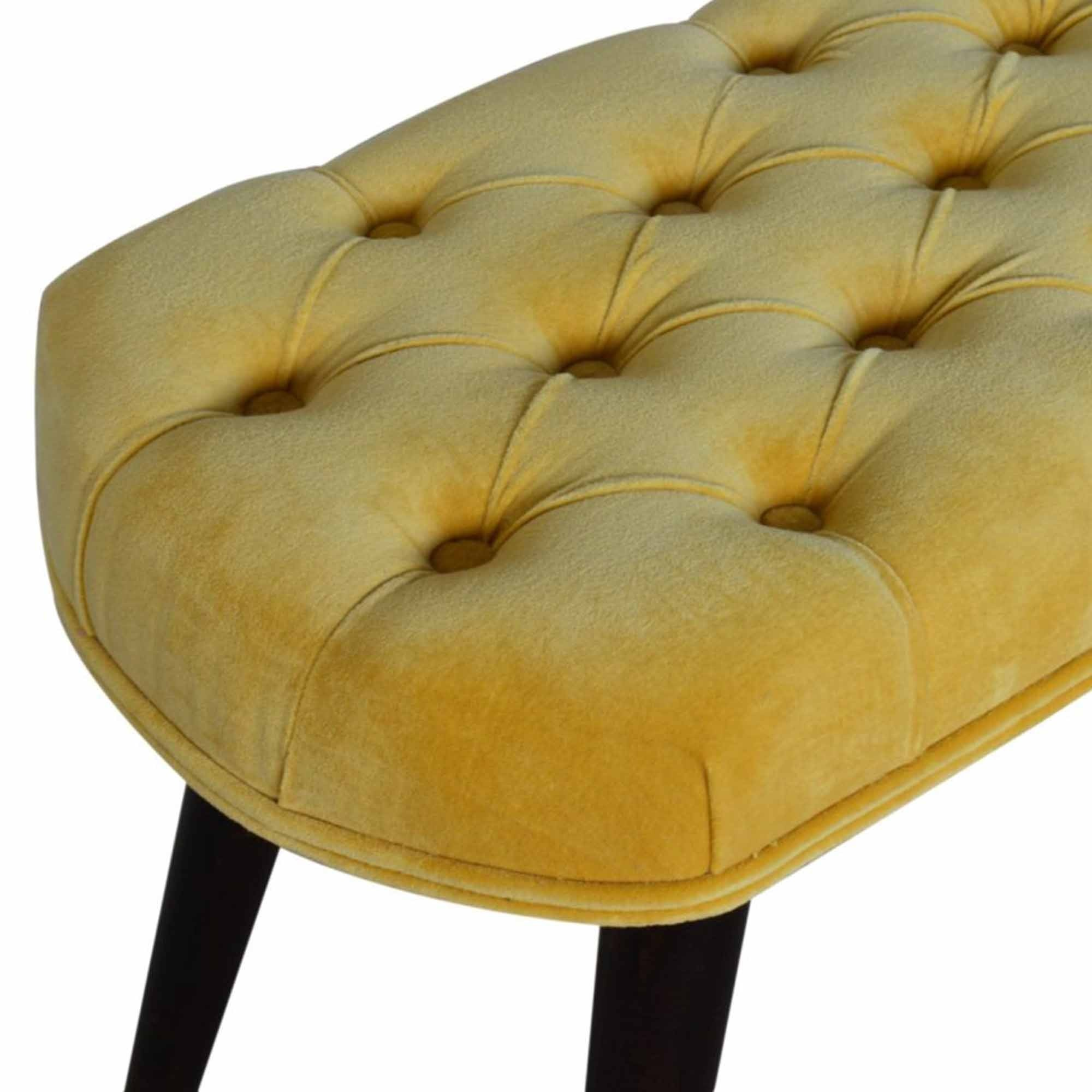 Mustard Cotton Velvet Bench Modern Furniture Benches
