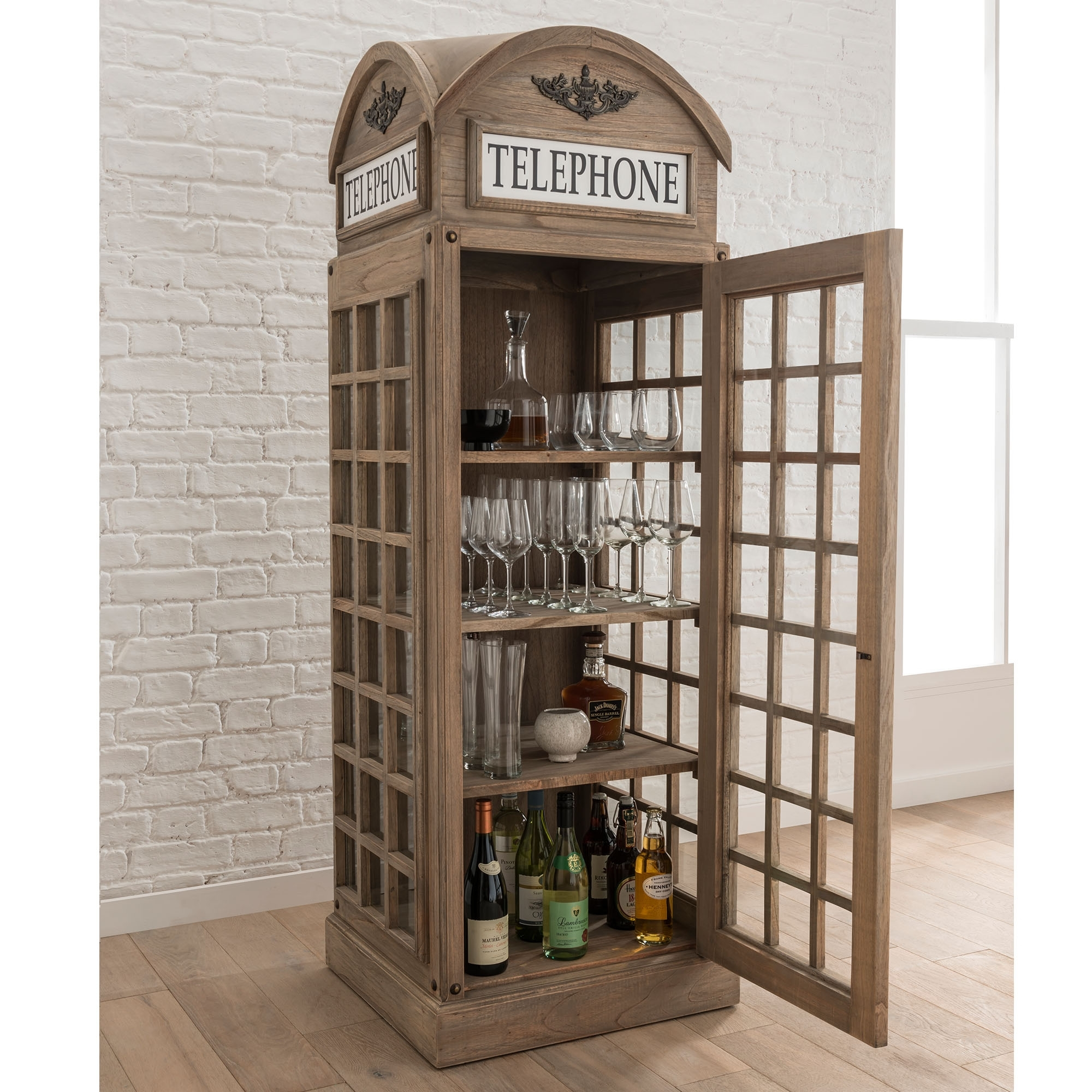 Display Cabinet In A London Telephone Box Style Wooden Cabinets