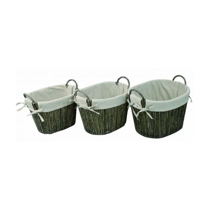 Natural Maize Weave Rounded Laundry Baskets