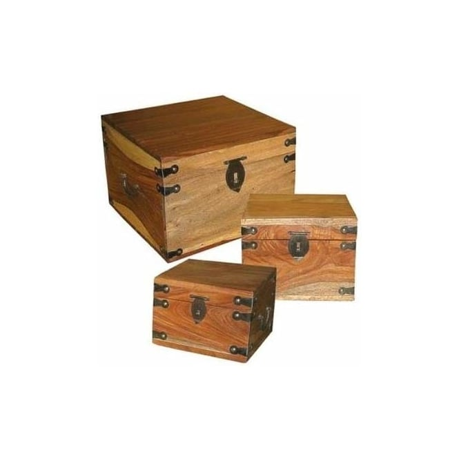 Natural Shesham Set of 3 Boxes