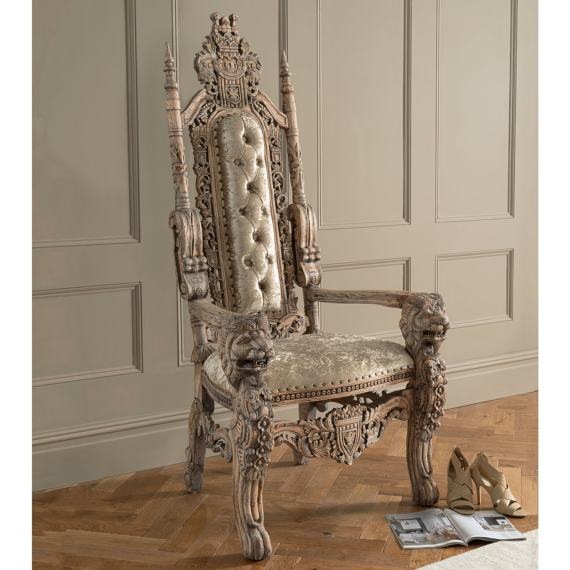 Admirable Natural Wood Antique French Style Throne Chair Beutiful Home Inspiration Ommitmahrainfo