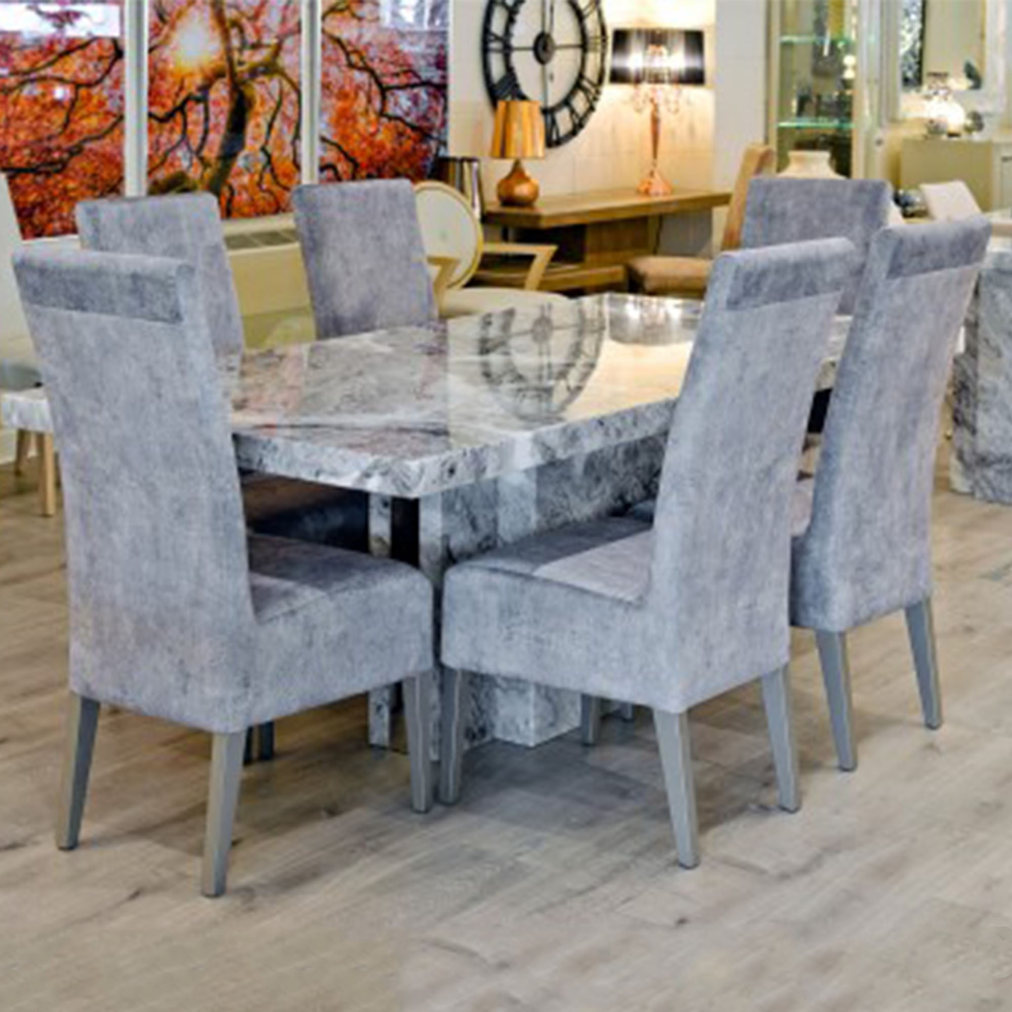 Newcastle Grey Marble Dining Table Modern Furniture Dining Tables