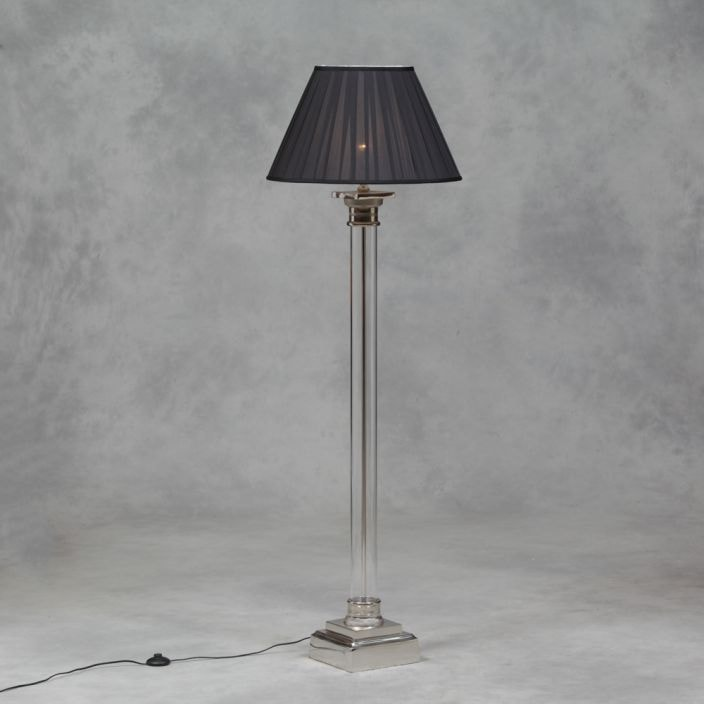 Nickel and glass column floor lamp available online now for Glass lantern floor lamp