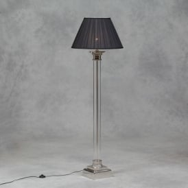 Nickel And Glass Column Floor Lamp