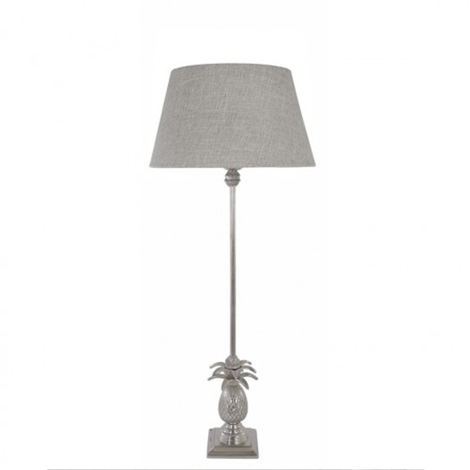 Nickel Pineapple Table Lamp With Natural Shade Table Lamps