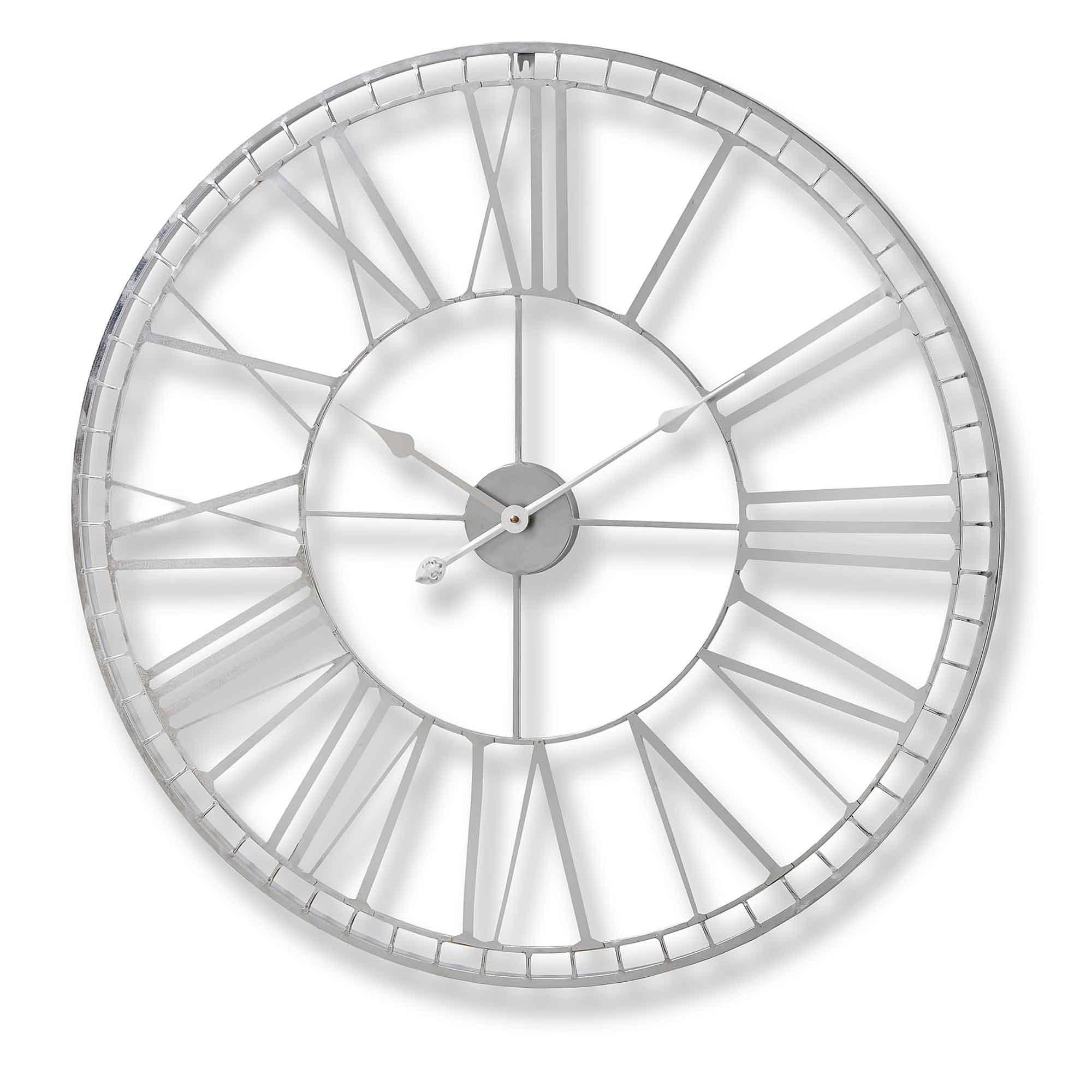 Nickel Frame Round Wall Clock Clock Homesdirect365