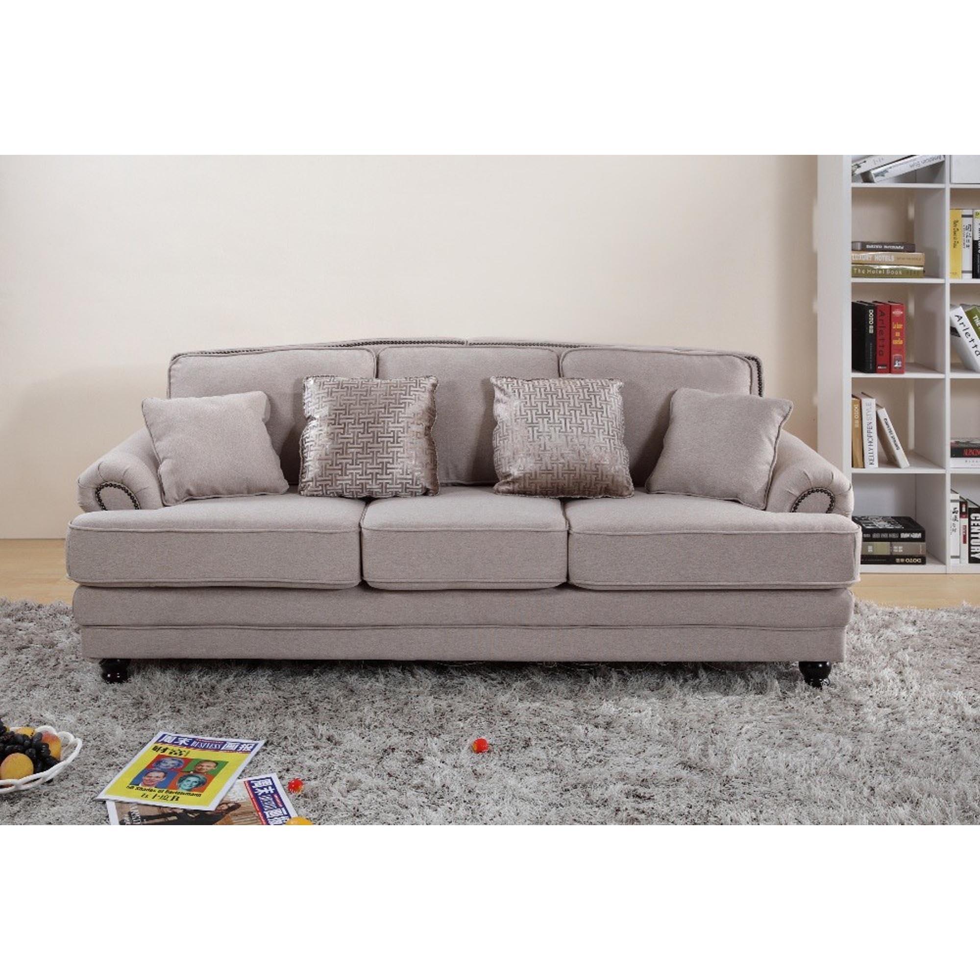 Nicole 3 Seater Beige Sofa