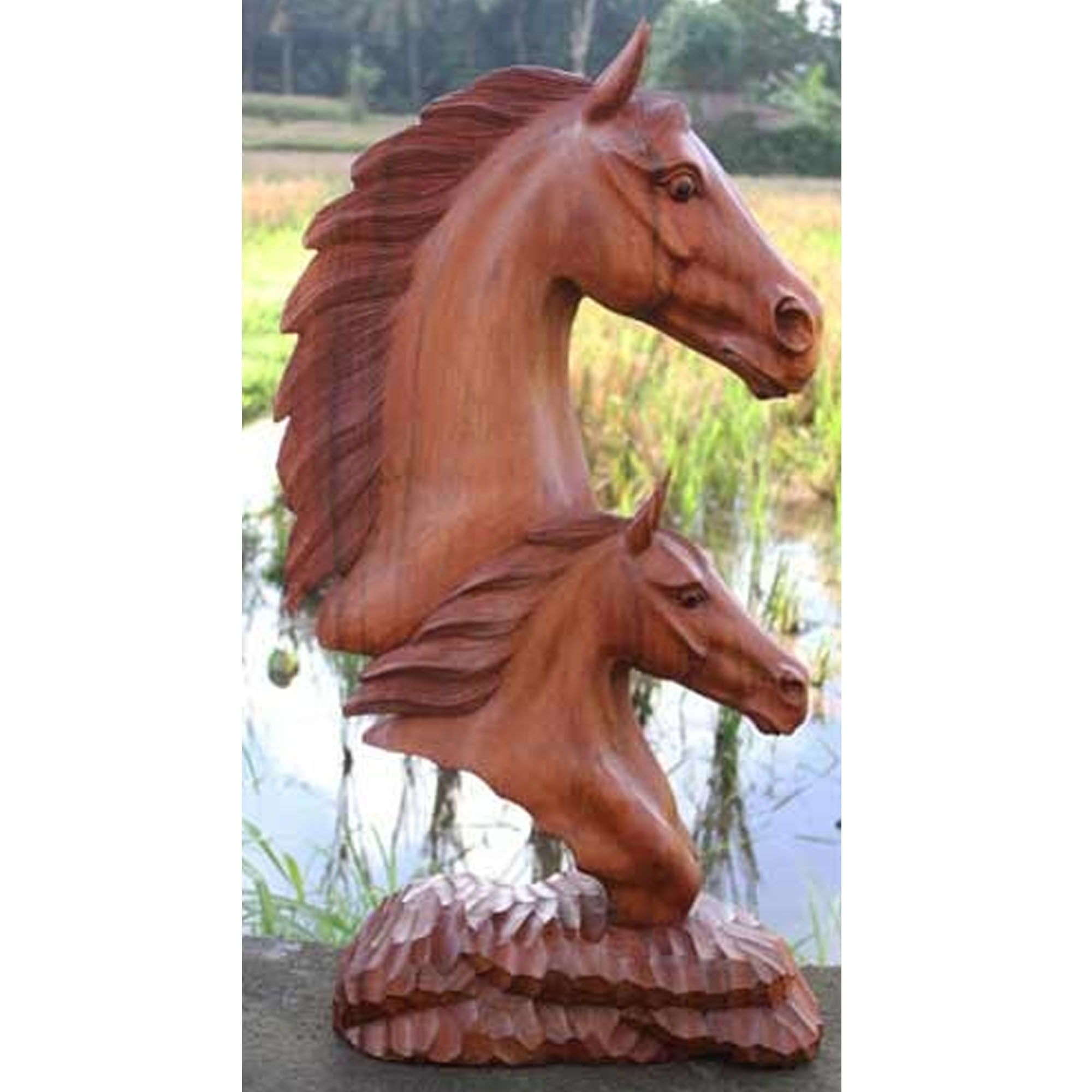Noble Wooden Horse Heads Home Accessories Wood Carving