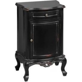Noir Antique French Style Bedside Cabinet