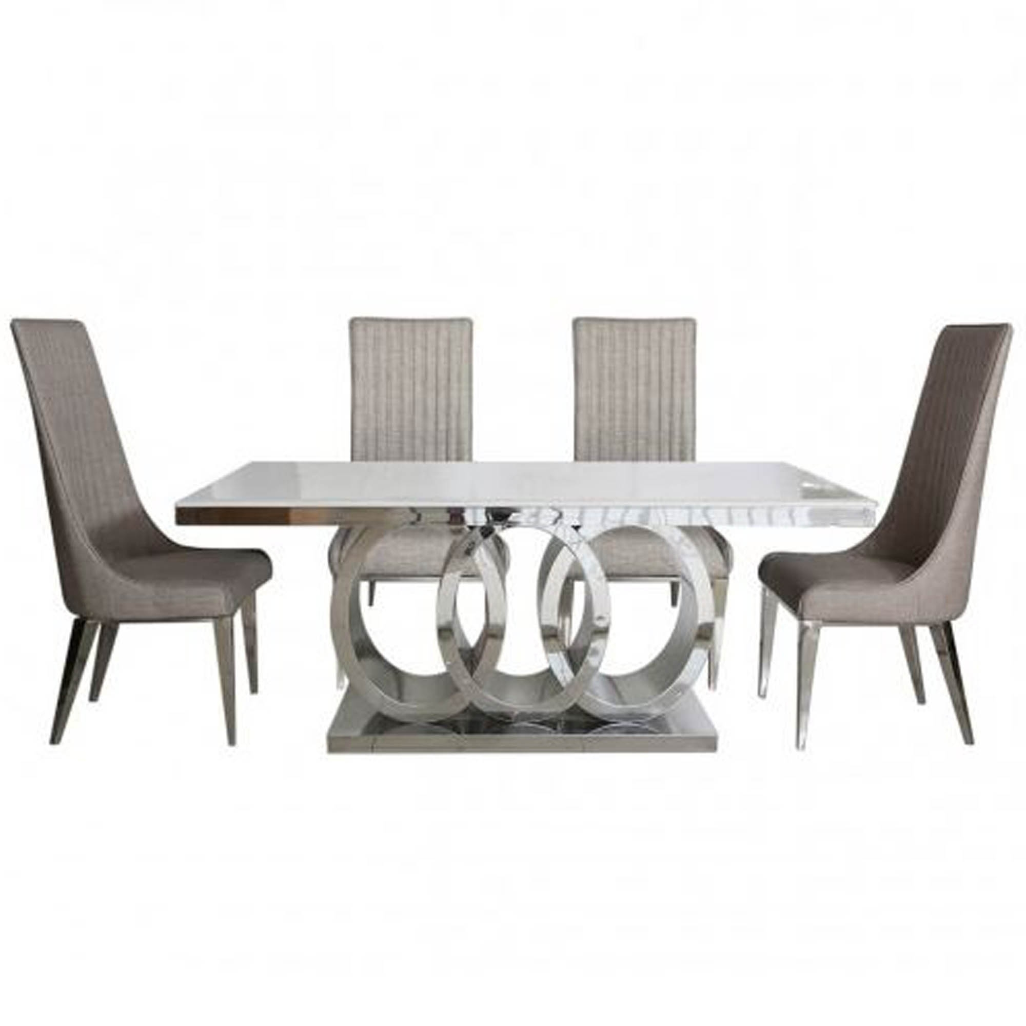 Odelia Natural Marble Effect Dining Table Set Dining Room Furniture