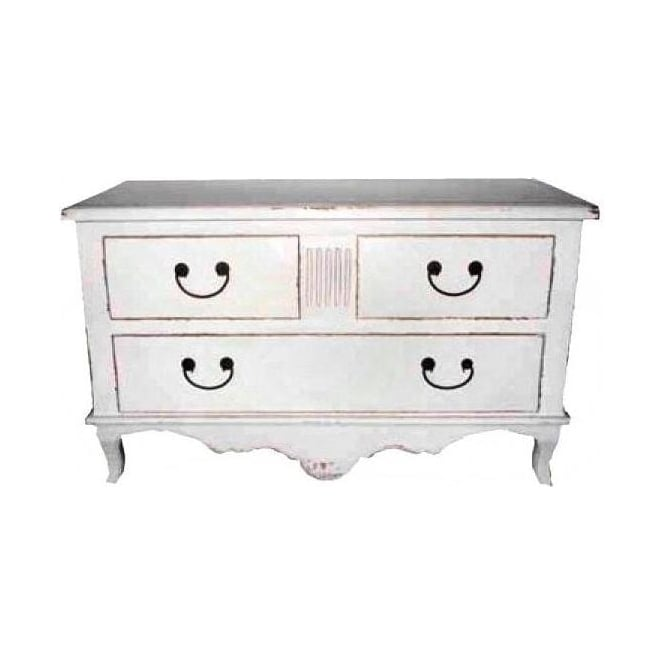 Old White Antique French Style Chest of Drawers