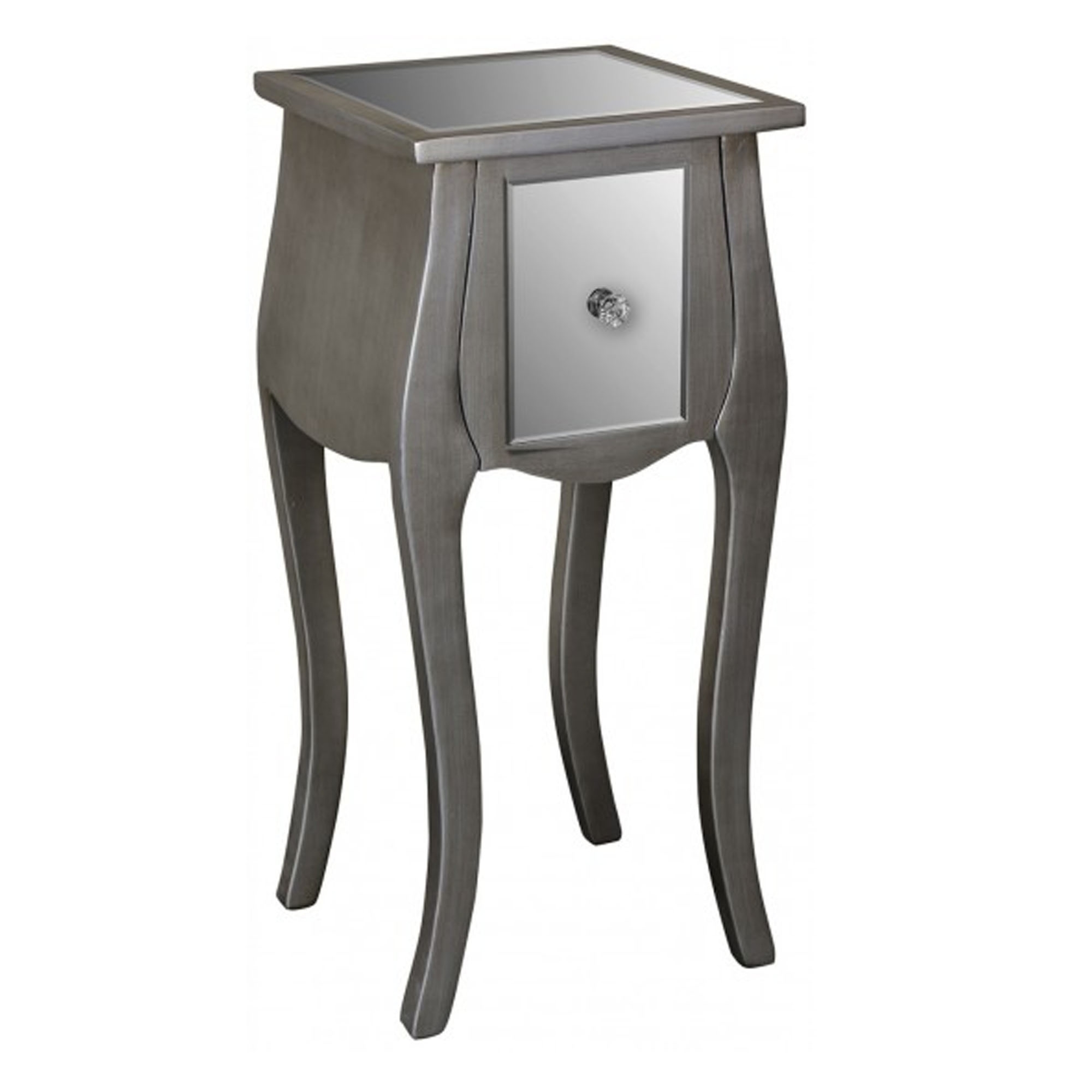 contrasting glass drawer table mirrored venetian double black with main side legs
