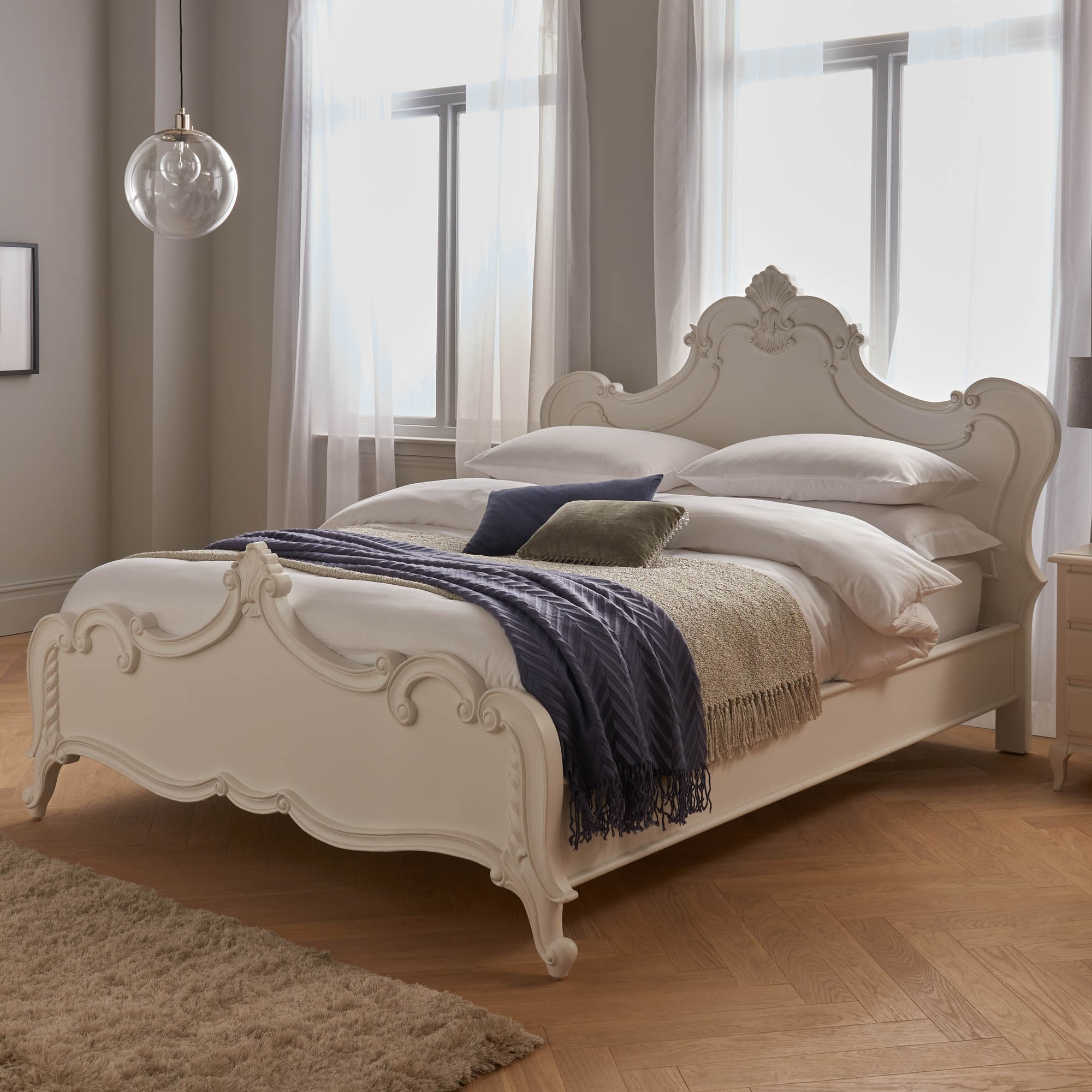 ornate french style white bed  french furniture  bedroom