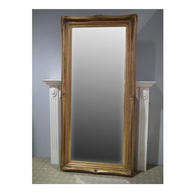 Ornate Gold Antique French Style Floorstanding Mirror
