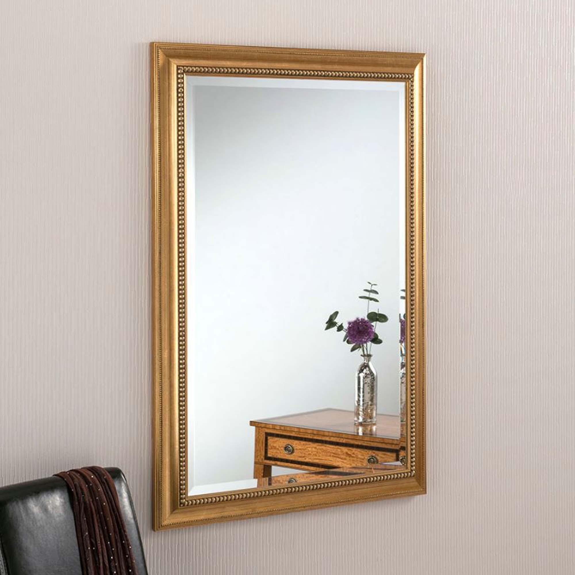 Ornate Gold Beaded Rectangular Wall Mirror | Decor ... on Wall Mirrors id=26840