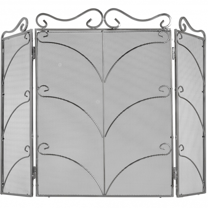 Ornate Silver Fire Screen