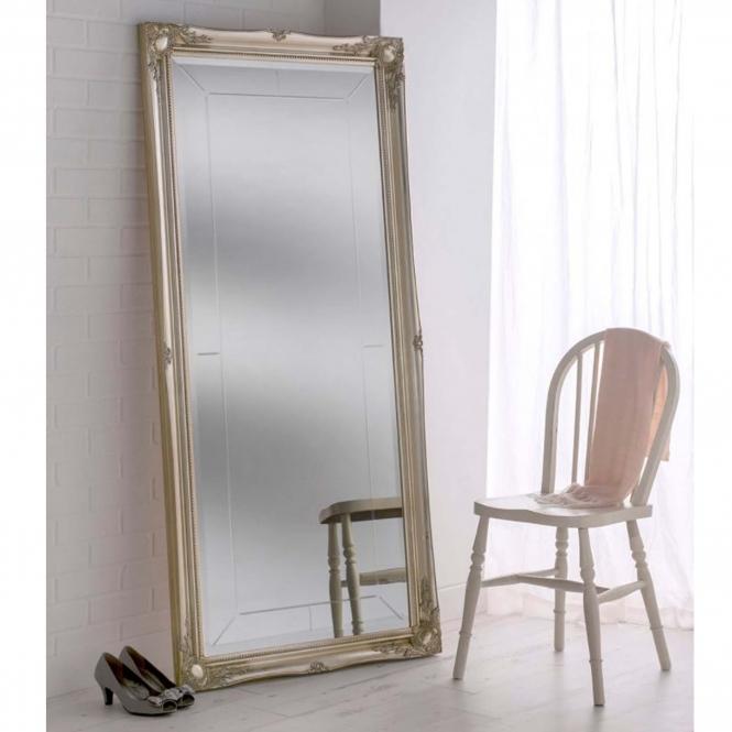 Ornate Silver Leaning Floor Mirror