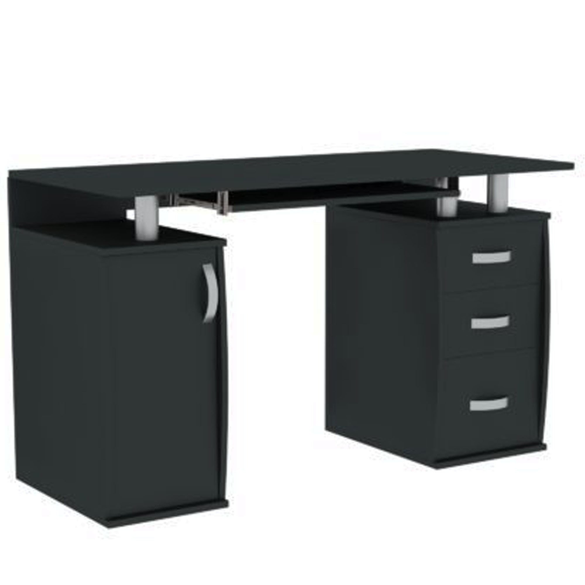 Otley Black 3 Drawer Computer Desk Computer Desks