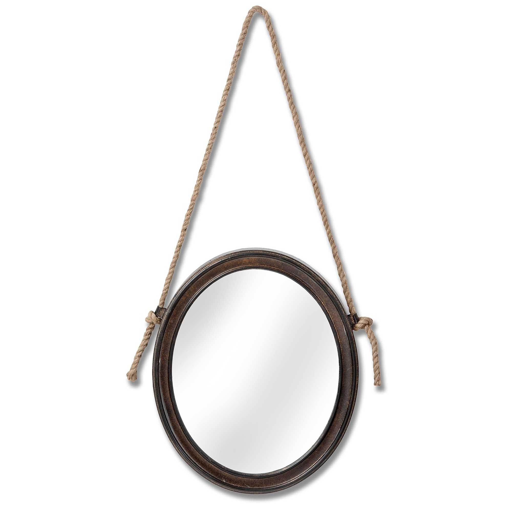 Oval Hanging Rope Rustic Wall Mirror Decor Homesdirect365