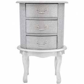 Oval Silver Antique French Style Bedside Cabinet