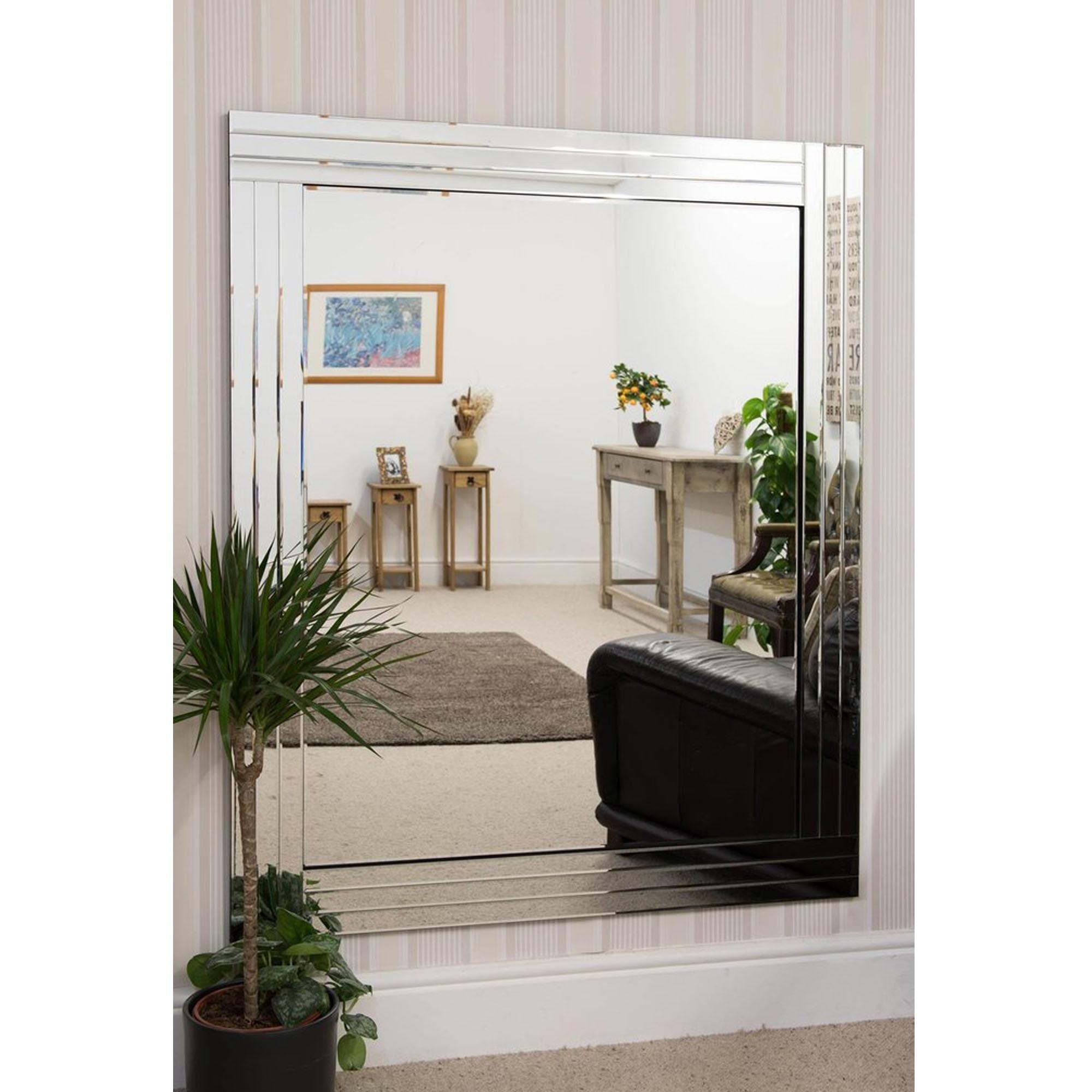 Overlapping Triple Bevelled Large Venetian Frameless Wall Mirror