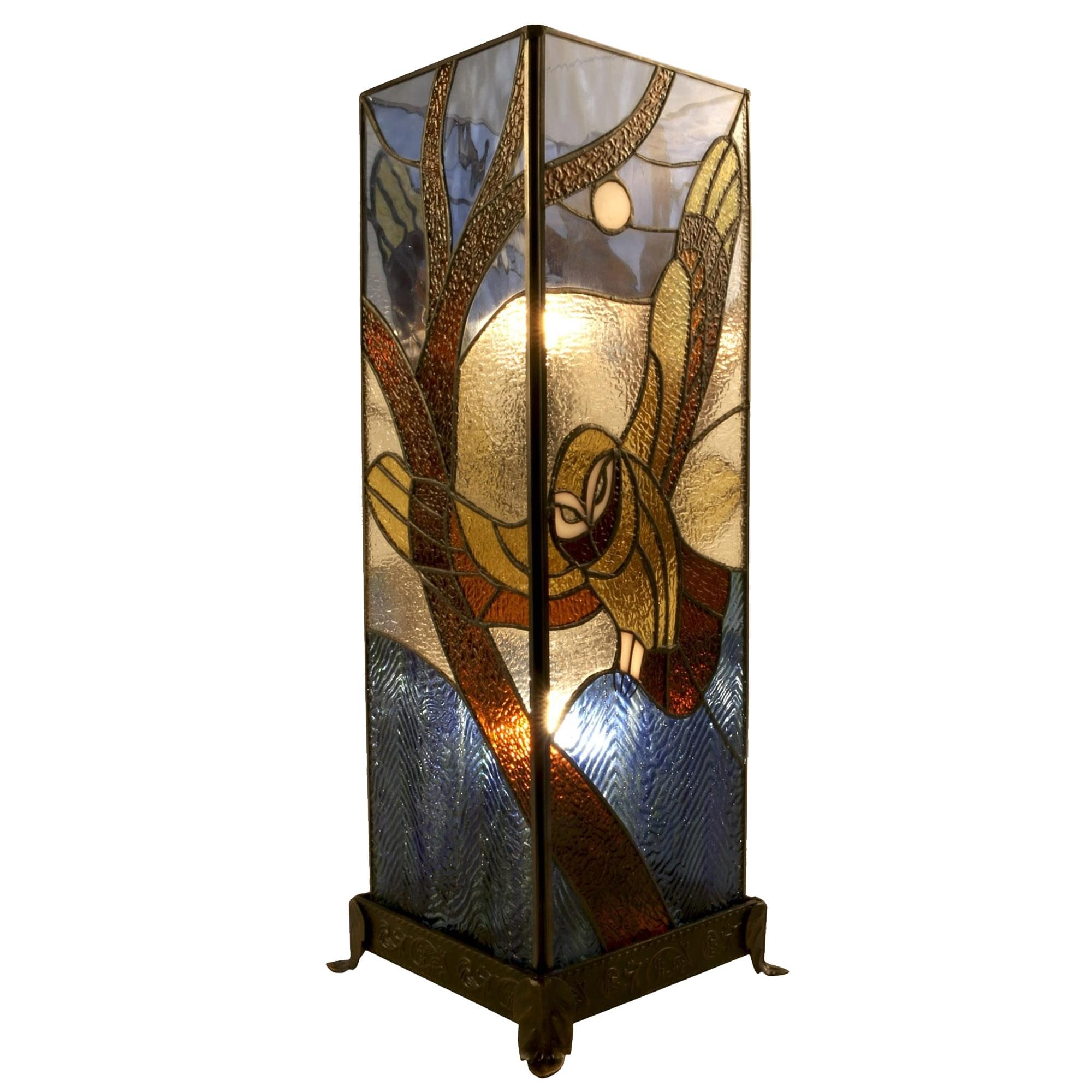 Owl Flying Square Tiffany Table Lamp