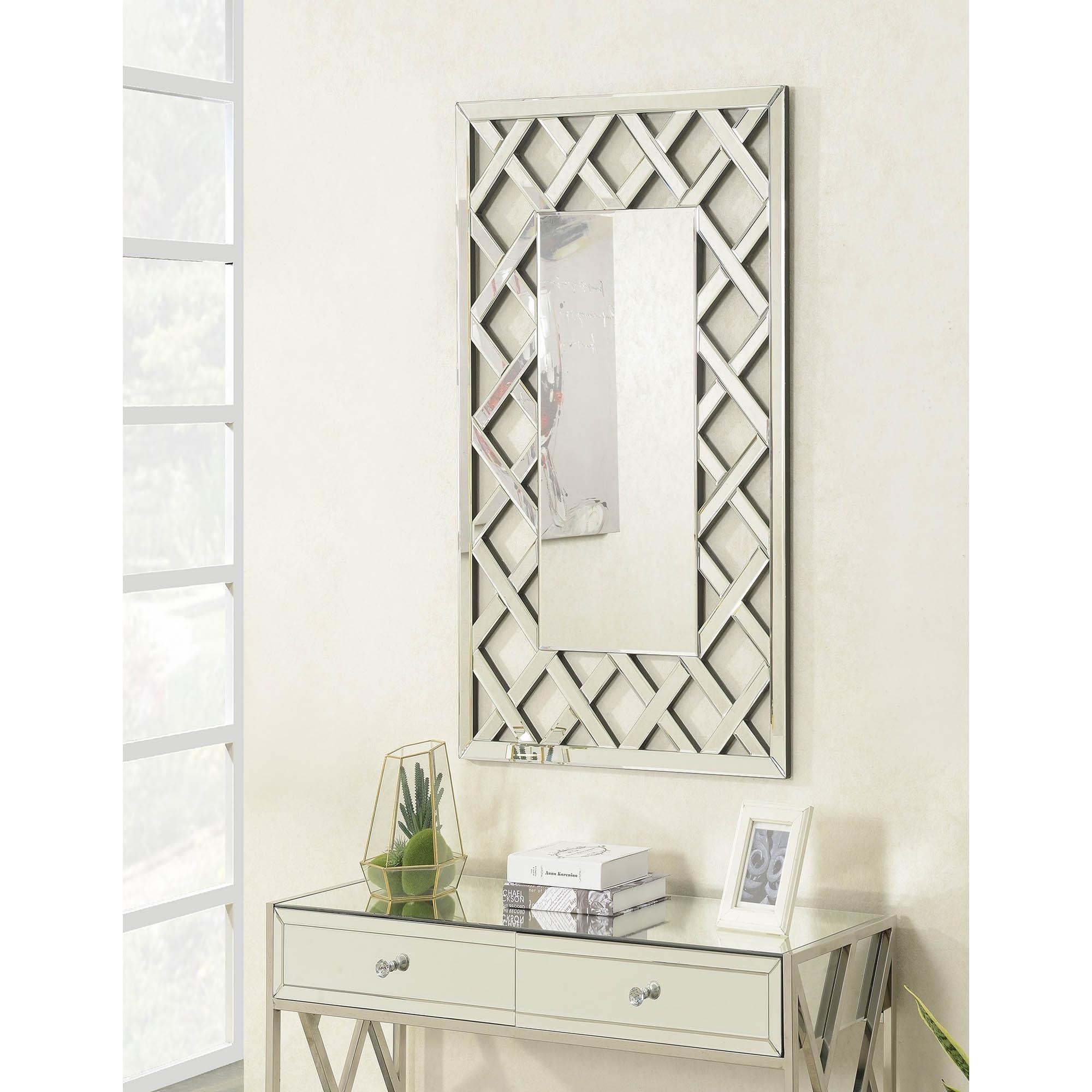 Pacific Mirrored Rectangular Wall Mirror Wall Mirror Homesdirect365