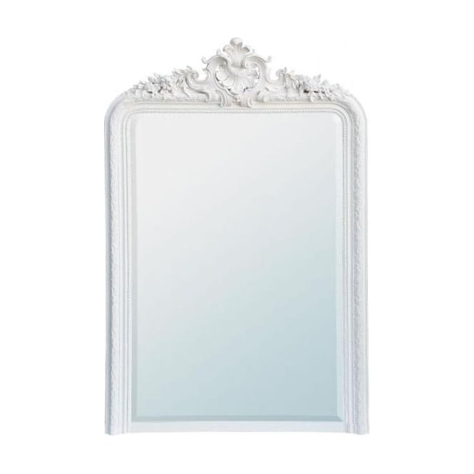 Painted White Antique French Style Wall Mirror