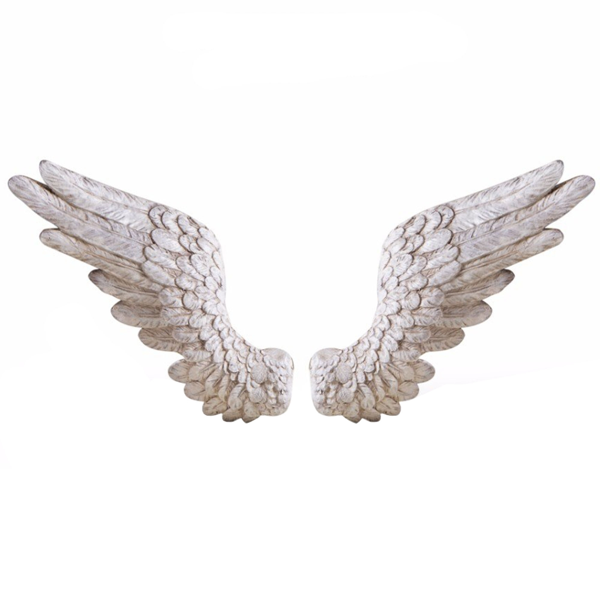 Pair of antique white angel wings wall decor decor for Angel wings wall decoration uk