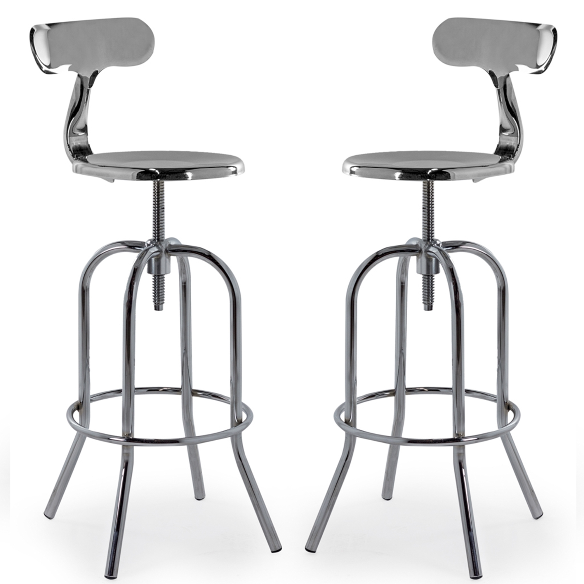 Pair of chrome bar stools with backrest