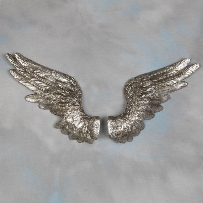Pair of silver angel wings wall decor indoor ornaments for Angel wings wall decoration uk