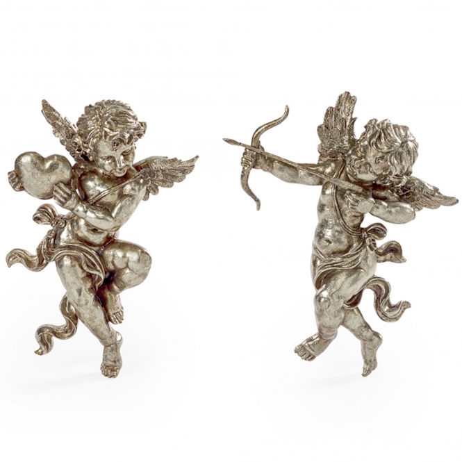 Pair of Silver Shooting Cupid Wall Figures