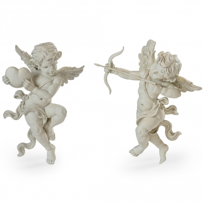 Pair of White Shooting Cupid Wall Figures