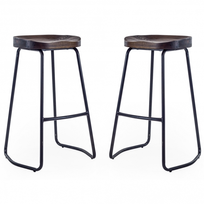 Pair of Wood & Iron Bar Stools