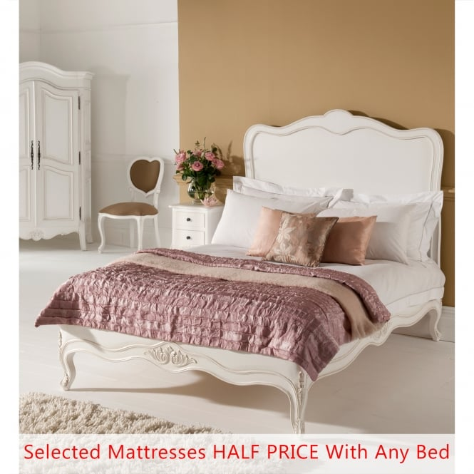 Paris Antique French Bed (Size: Double) + Mattress - Bundle Deal