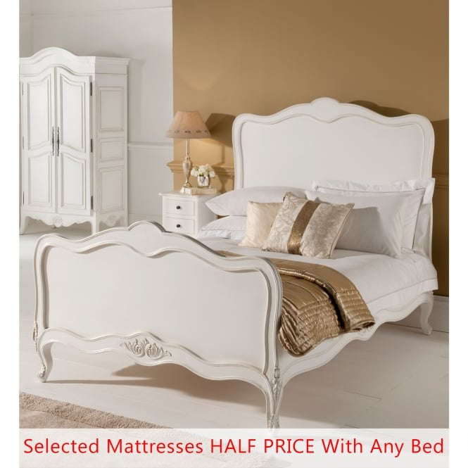 Paris Antique French Style Bed (Size: Double) + Mattress - Bundle Deal