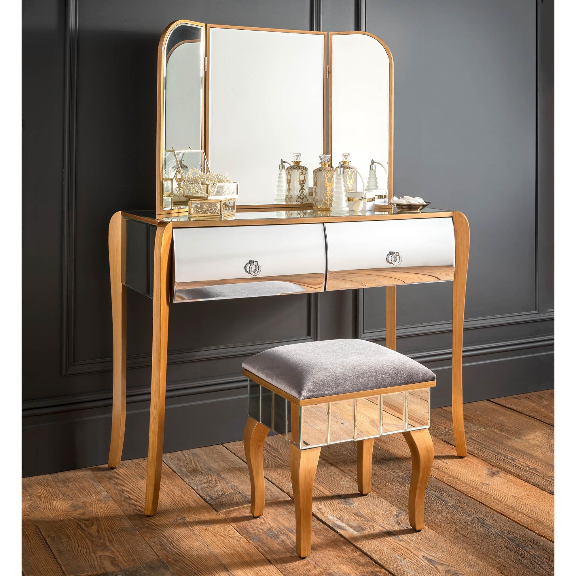 Paris Mirrored Dressing Table Set Venetian Mirrored Furniture Online