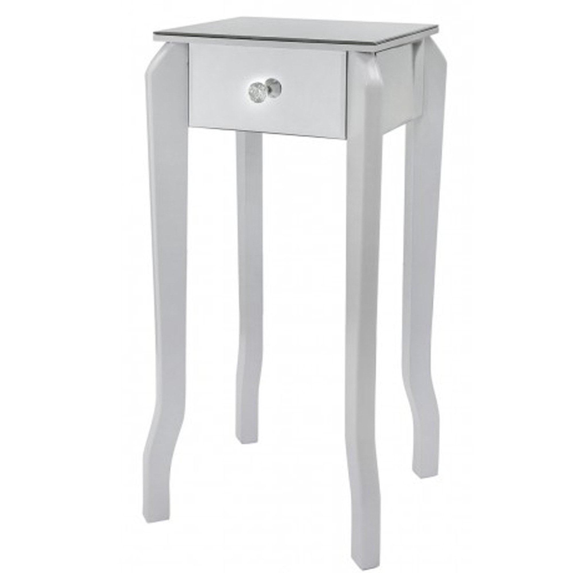 White And Mirror End Table Mirrored, Narrow Mirrored Side Table
