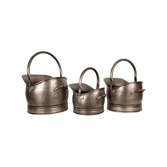 Pewter Set Of 3 Classic Scuttles