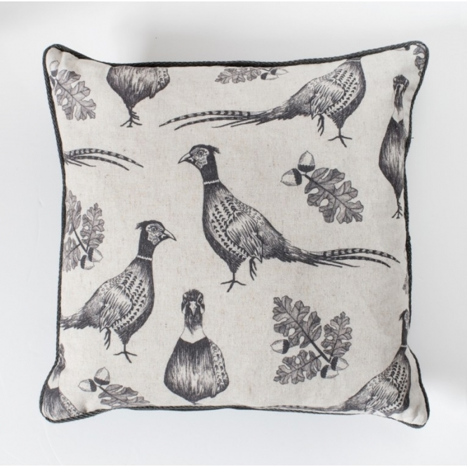 Pheasant and Acorn Cushion Grey