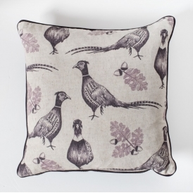 Pheasant and Acorn Cushion Plum