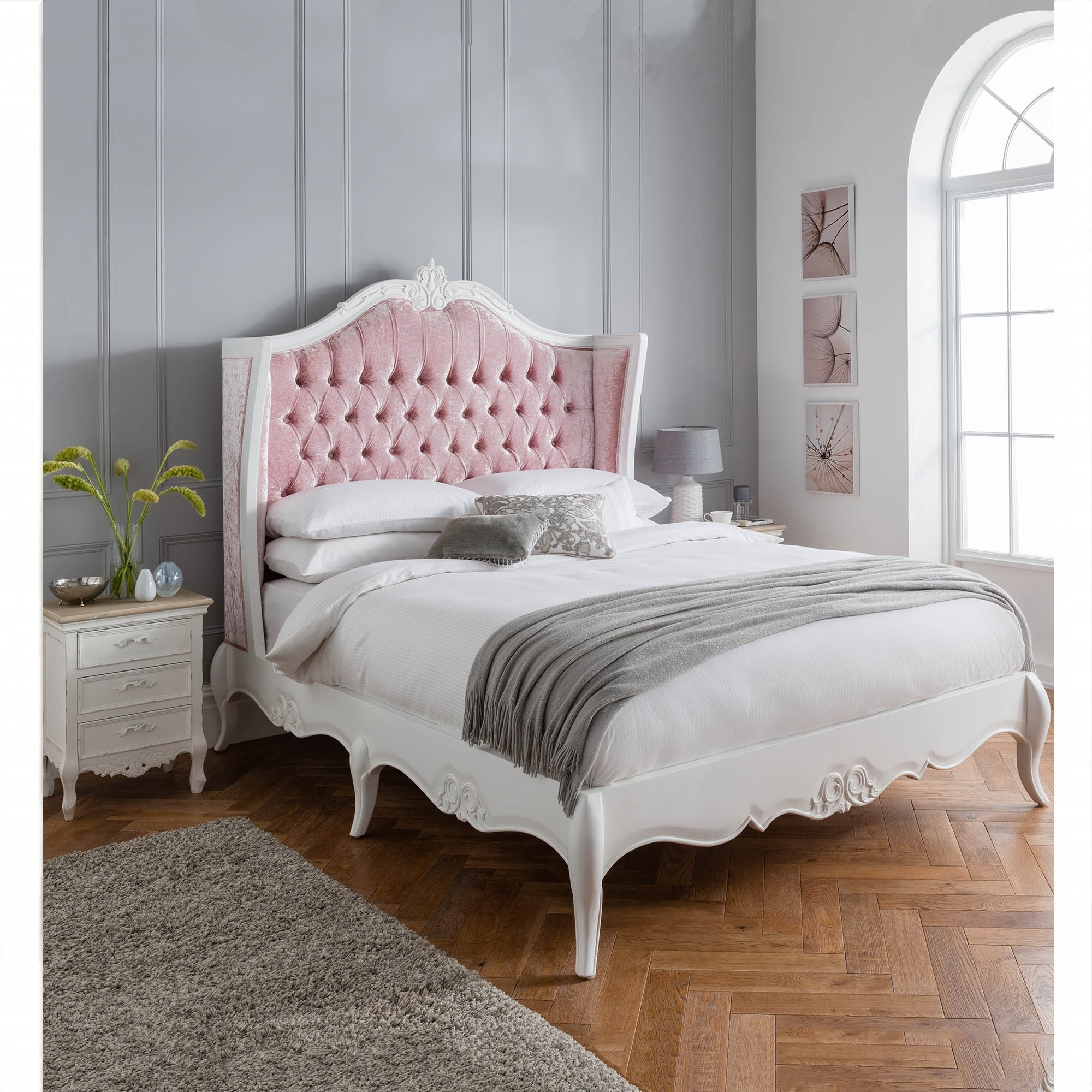 Pink Antique French Style Crushed Velvet Bed French Furniture Online