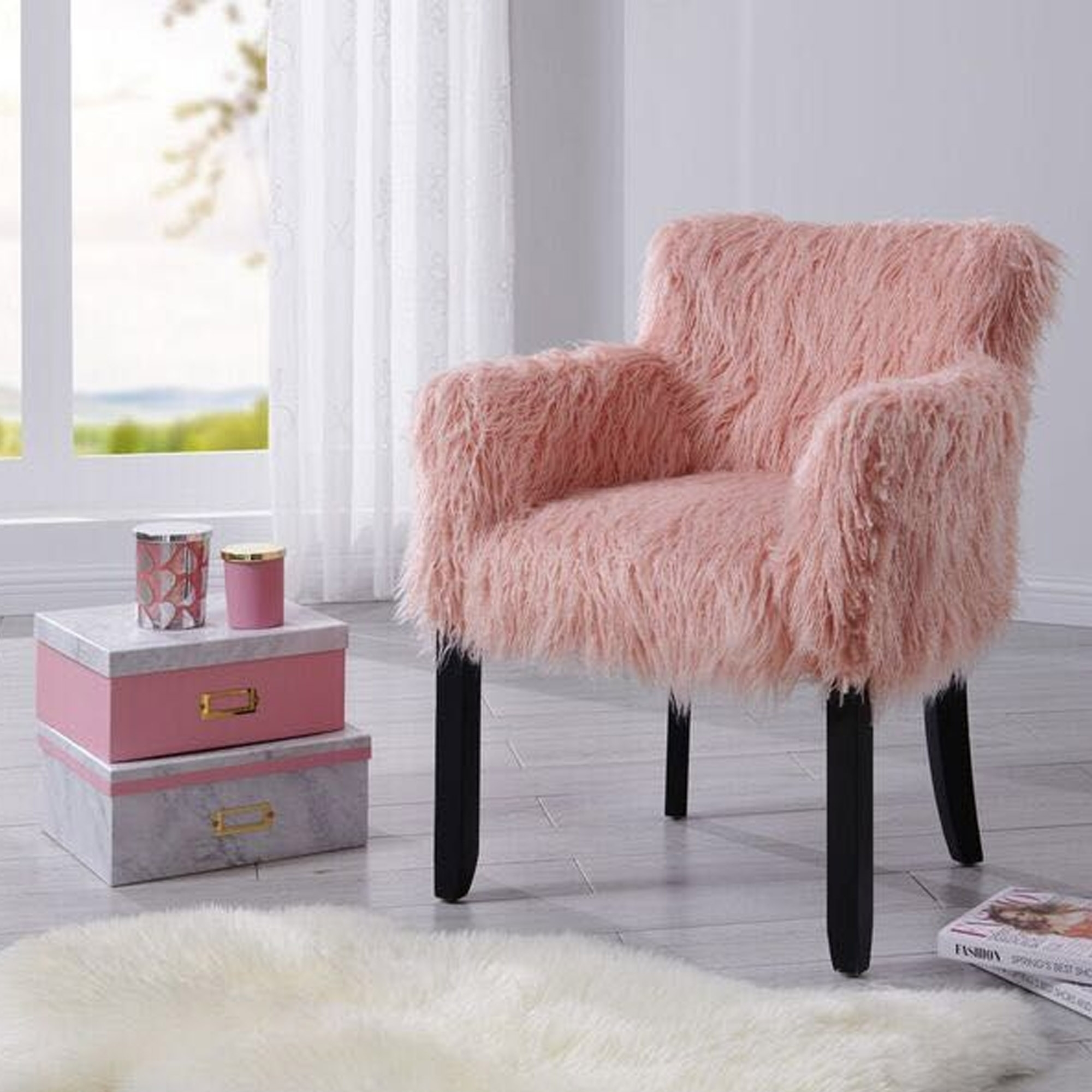 Pink Heavy Shag Faux Sheepskin Tub Chair Modern