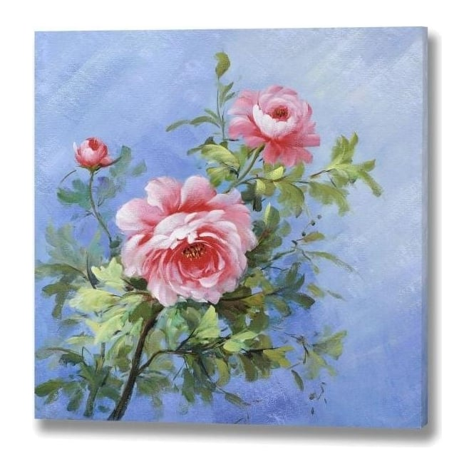 Pink Roses Hand Painted Canvas